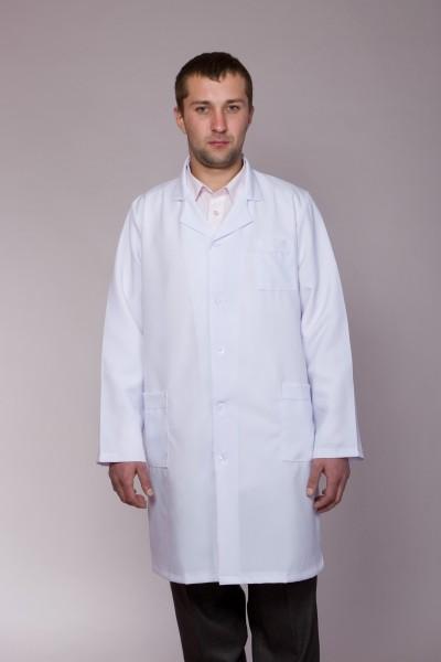 Медицинский халат-модель-1118 (ткань-габардин/белый/размер 40-50)