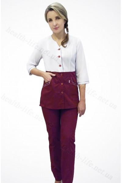 Медицинский костюм-модель-22102 (ткань-хб/белый/бордовый/размер 42-60)
