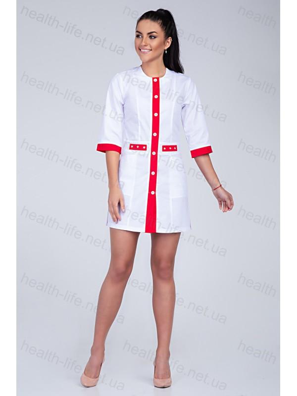 Медицинский халат-модель-2102 (ткань-хб/белый/красный/размер 42-60)