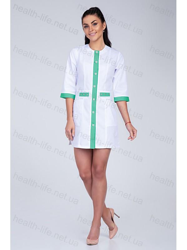 Медицинский халат-модель-2103 (ткань-хб/белый/салатовый/размер 42-60)