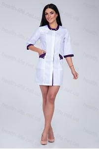 Медицинский халат-модель-2106(ткань-х/б/белый/баклажан/размер 42-56)