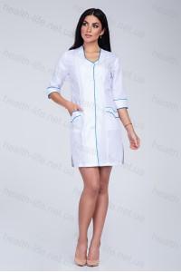 Медицинский халат-модель-2109 (ткань-хб/белый/бирюзовая бейка/размер 40-66)