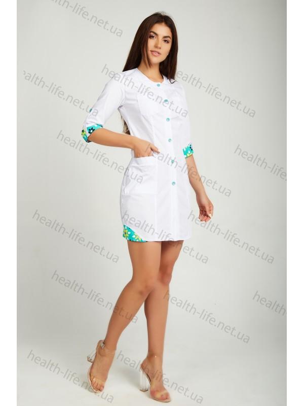 Медицинский халат-модель-21103(ткань-х/б/белый/ размер 42-60)