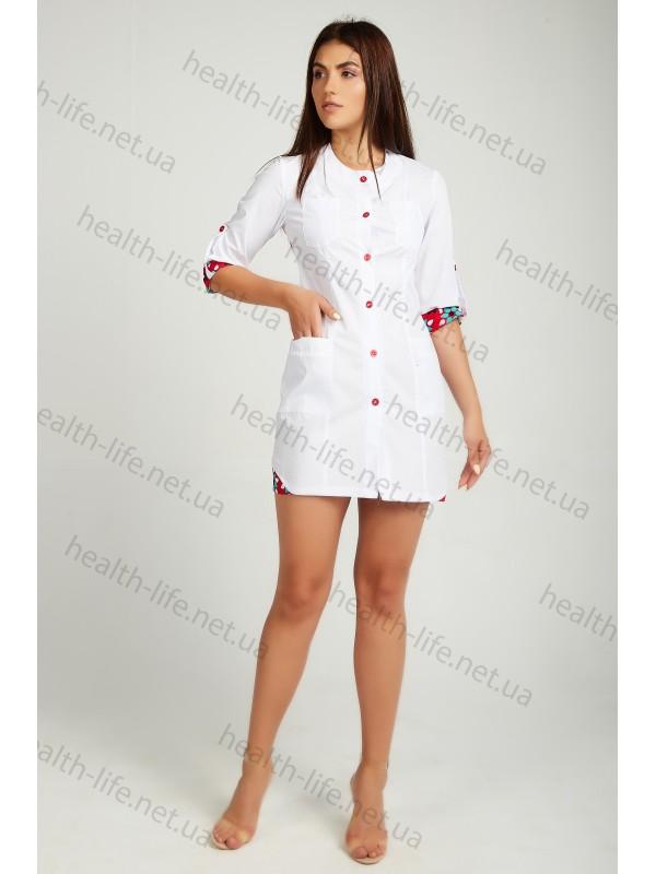Медицинский халат-модель-21104(ткань-х/б/белый/ размер 42-60)