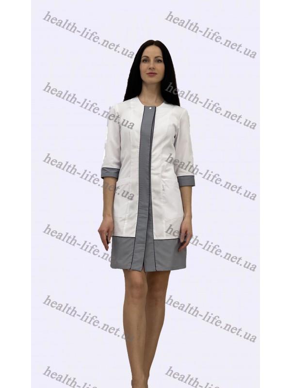 Медицинский халат-модель-21106(ткань-х/б/белый/ серый/ размер 42-60)