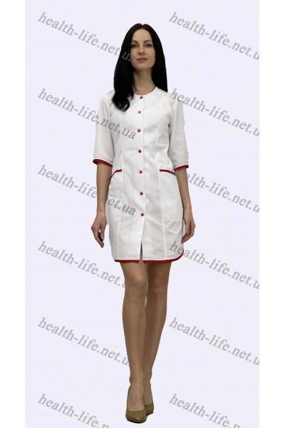 Медицинский халат-модель-21107 (ткань-х/б/белый/красный кант размер 42-60)