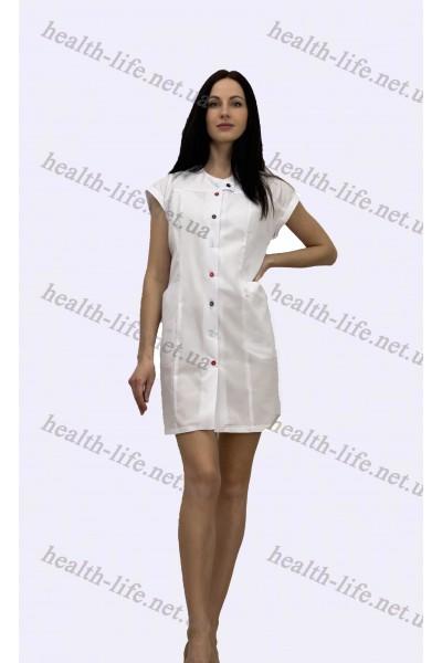 Медицинский халат-модель-21109 (ткань-х/б/белый/ размер 46-60)