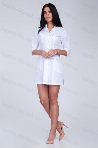 Медицинский халат-модель-2111(ткань-х/б/белый/размер 40-54)
