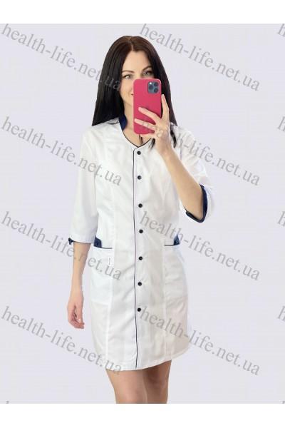 Медицинский халат-модель-21110 (ткань-х/б/белый/темно-синий  кант размер 42-60)