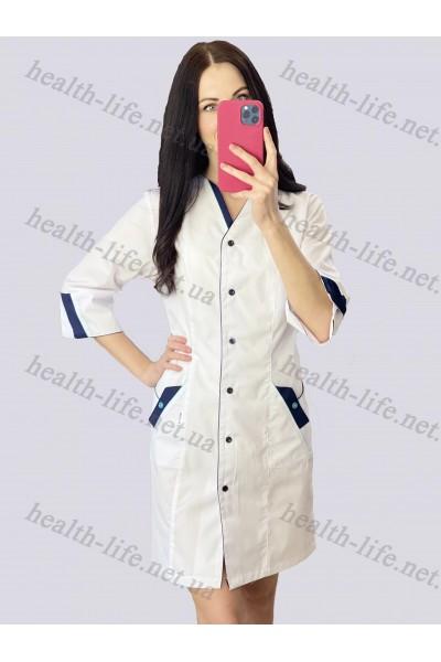 Медицинский халат-модель-21111 (ткань-х/б/белый/темно-синий  кант размер 42-66)