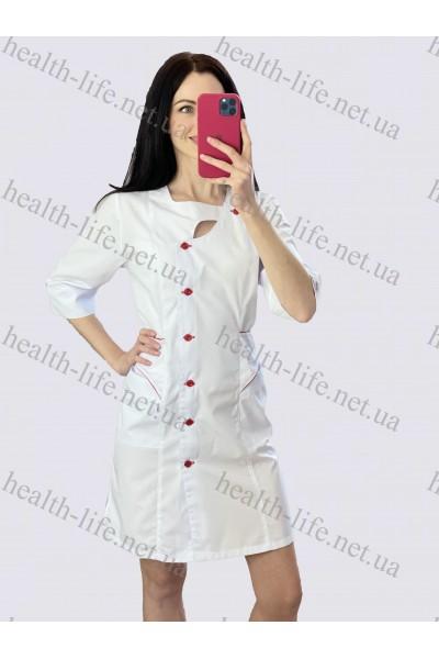Медицинский халат-модель-21112(ткань-х/б/белый/красный  кант размер 44-56)