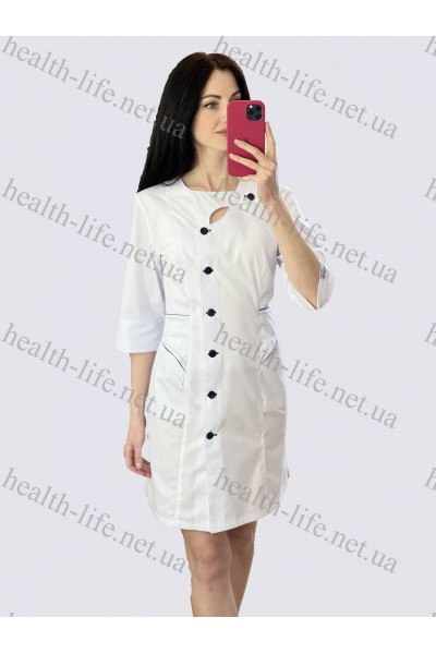 Медицинский халат-модель-21113 (ткань-х/б/белый/темно-синий  кант размер 44-56)