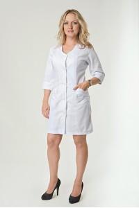 Медицинский халат-модель-2118 (ткань-хб/белый/размер 40-66)