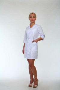 Медицинский халат-модель-2118 (ткань-хб/белый/размер 44-66)