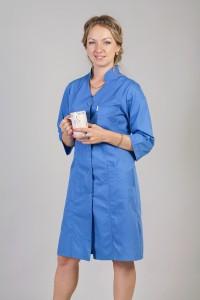 Медицинский халат-модель-2120 (ткань-х/б/синий/размер 42-66)