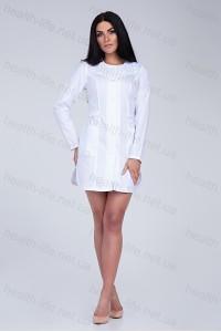 Медицинский халат-модель-2127 (ткань-х/б/белый/вышивка/размер 42-52)