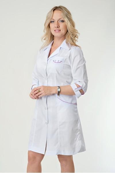 Медицинский халат-модель-2129 (ткань-х/б/белый/размер 40-60)
