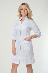 Медицинский халат-модель-2131(ткань-х/б/белый/размер 40-56)