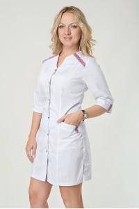 Медицинский халат-модель-2142(ткань-х/б/белый/вышивка/тесьма/размер в наличии  3..