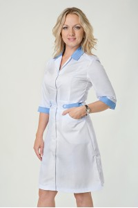 Медицинский халат-модель-2145(ткань-х/б/белый/голубой/размер 40-56)