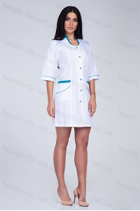 Медицинский халат-модель-2150(ткань-х/б/белый/размер 42,44 )