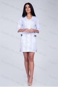 Медицинский халат-модель-2153(ткань-х/б/белый/размер 42-50)