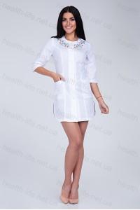 Медицинский халат-модель-2157 (ткань-х/б/белый/вышивка/размер 42-56)