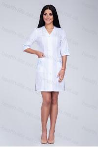 Медицинский халат-модель-2158 (ткань-х/б/белый/вышивка/размер 40-60)