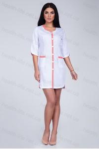 Медицинский халат-модель-2159 (ткань-х/б/белый/персиковая вставка/размер 40-60)