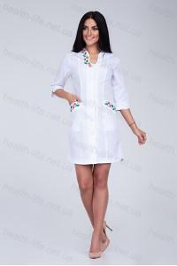 Медицинский халат-модель-2161 (ткань-х/б/белый/вышивка/размер 40-66)