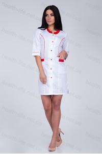 Медицинский халат-модель-2166 (ткань-х/б/белый/красные  вставки/размер 40-56)