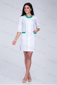 Медицинский халат-модель-2167 (ткань-х/б/белый/мятные вставки/размер 40-60)