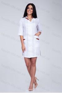 Медицинский халат-модель-2173  (ткань-х/б/белый/вышивка/размер 42-66)