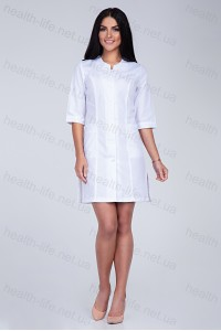 Медицинский халат-модель-2174 (ткань-х/б/белый/вышивка/размер 40-66)