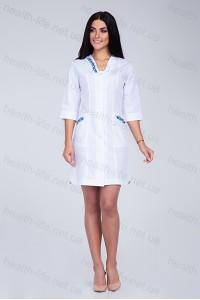 Медицинский халат-модель-2175  (ткань-х/б/белый/вышивка/размер 42-66)