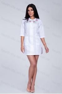 Медицинский халат-модель-2176 (ткань-х/б/белый/вышивка/размер 42-56)