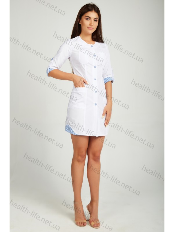 Медицинский халат-модель-21102(ткань-х/б/белый/ размер 42-60)