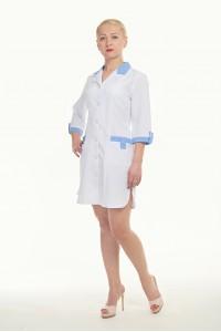 Медицинский халат-модель-1104 (ткань-габардин/белый/размер 40-60)