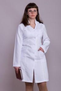 Медицинский халат-модель-1106 (ткань-габардин/белый/размер 40-58)
