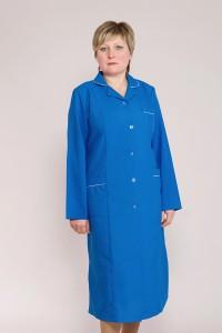 Медицинский халат-модель-1115 (ткань-габардин/синий/размер 46-66)