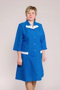 Медицинский халат-модель-1116 (ткань-габардин/синий/размер 44-60)