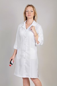 Медицинский халат-модель-1120 (ткань-габардин/белый/размер 40-60)