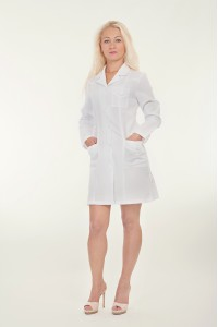 Медицинский халат-модель-1121 (ткань-габардин/белый/ размер с 40-50)