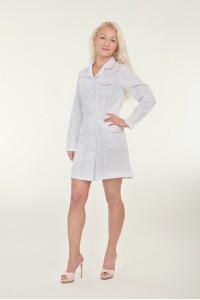 Медицинский халат-модель-1129 (ткань-габардин/белый/размер 40-50)