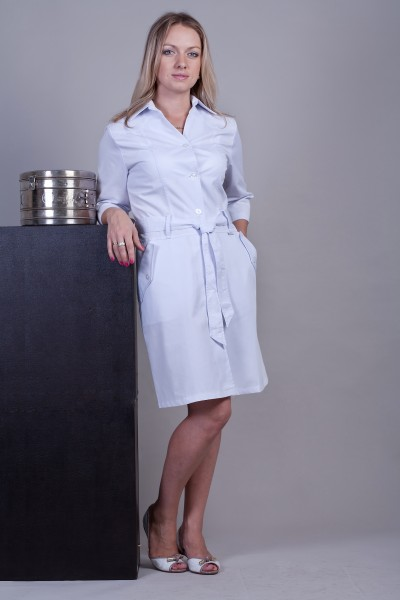 Медицинский халат-модель-3109 (ткань-коттон/белый/размер 40-52)