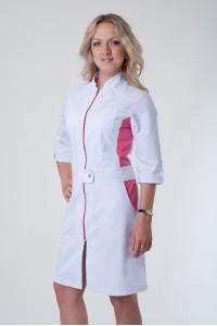 Медицинский халат-модель-3113 (ткань-коттон/белый/малиновый/размер 40-56)