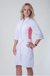 Медицинский халат-модель-3114 (ткань-коттон/белый/персиковый/размер 40-56)