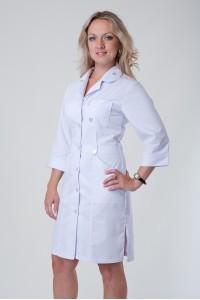 Медицинский халат-модель-3115 (ткань-коттон/белый/размер 40-60)