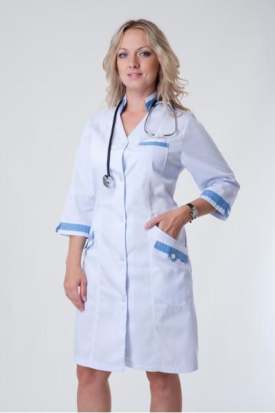 Медицинский халат-модель-3119 (ткань-коттон/белый/размер 40-60)