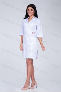 Медицинский халат-модель-3123 (ткань-коттон/белый/вышивка/размер 42,44)